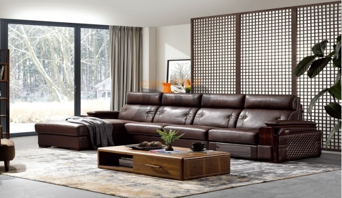 Coltar living din piele model Concord